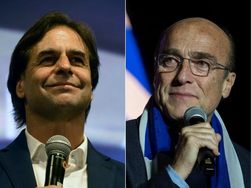 Luis Lacalle Pou (E) e Daniel Martínez (D), candidatos a presidente do Uruguai — Foto: Eitan Abramovich, Pablo Porciuncula/AFP