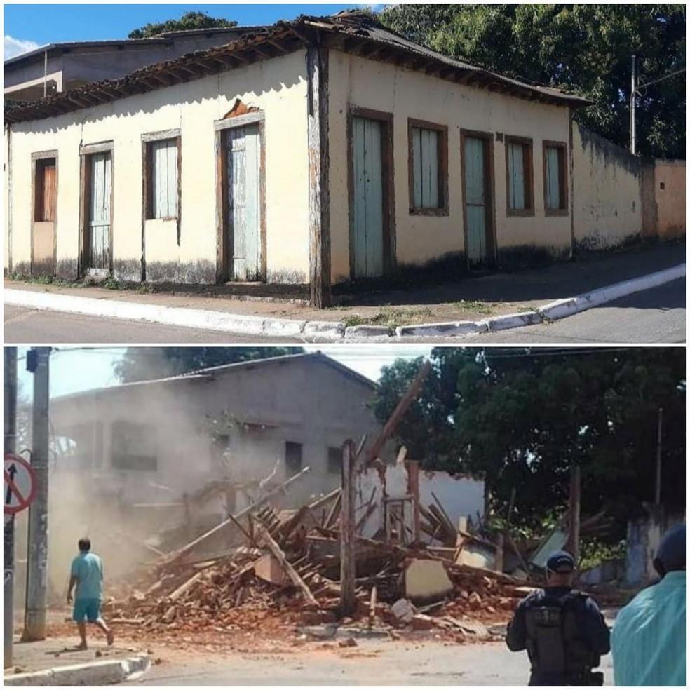 'Casa da Dona Negrinha', imóvel histórico no DF, é demolido em Planaltina — Foto: Reprodução/ Redes Sociais
