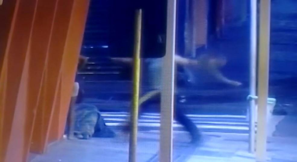 Homem chuta mulher no Centro de Ribeirão Preto, SP — Foto: Olhos de Águia/Polícia Militar