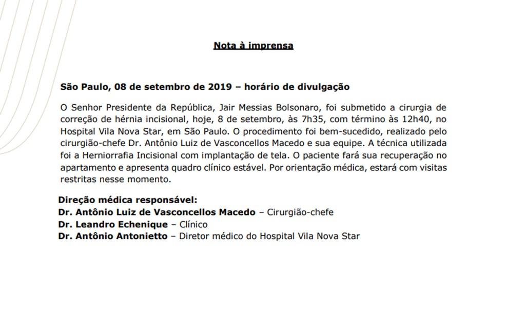 Boletim médico de Jair Bolsonaro neste domingo (8) — Foto: Divulgação