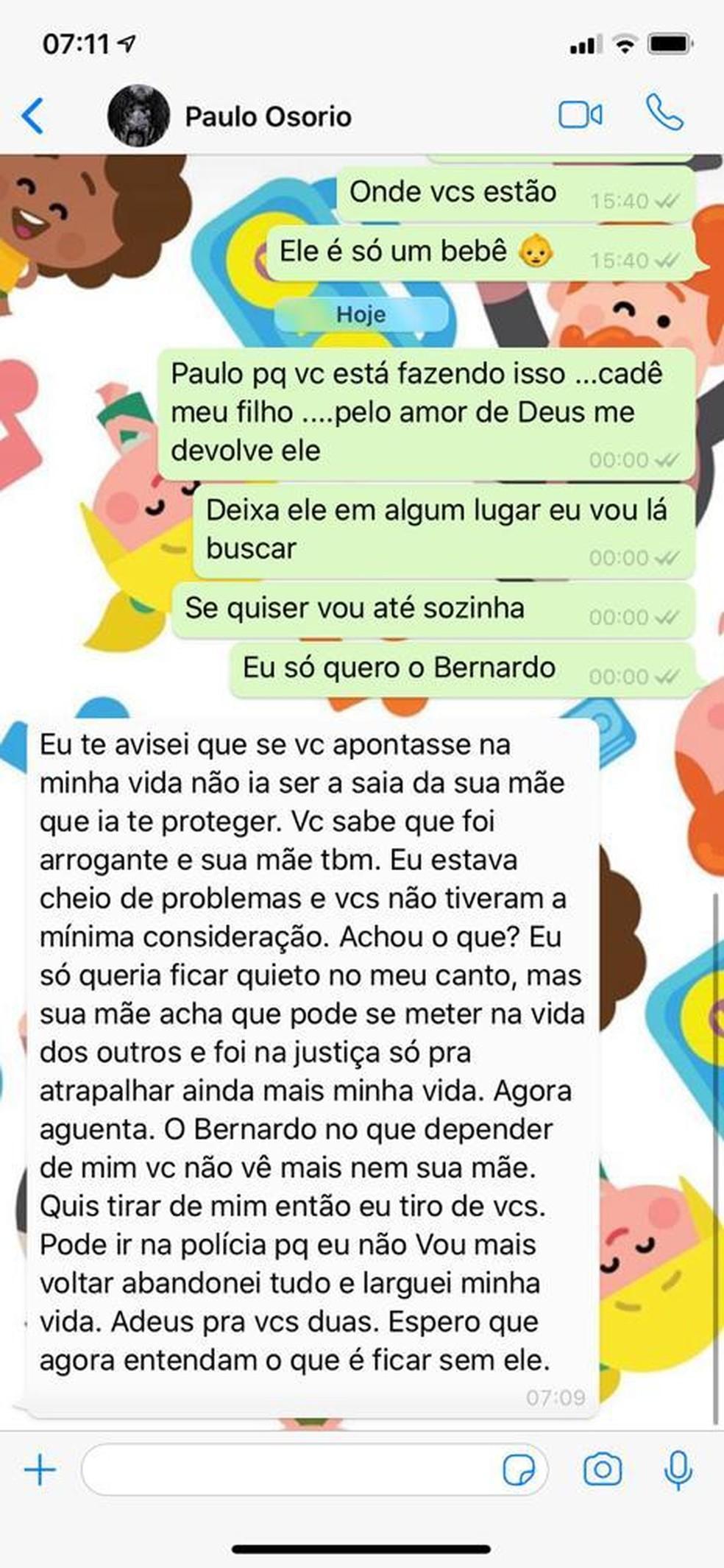Veja troca de mensagens entre os pais de Bernardo após desaparecimento do menino — Foto: PCDF/Divulgação