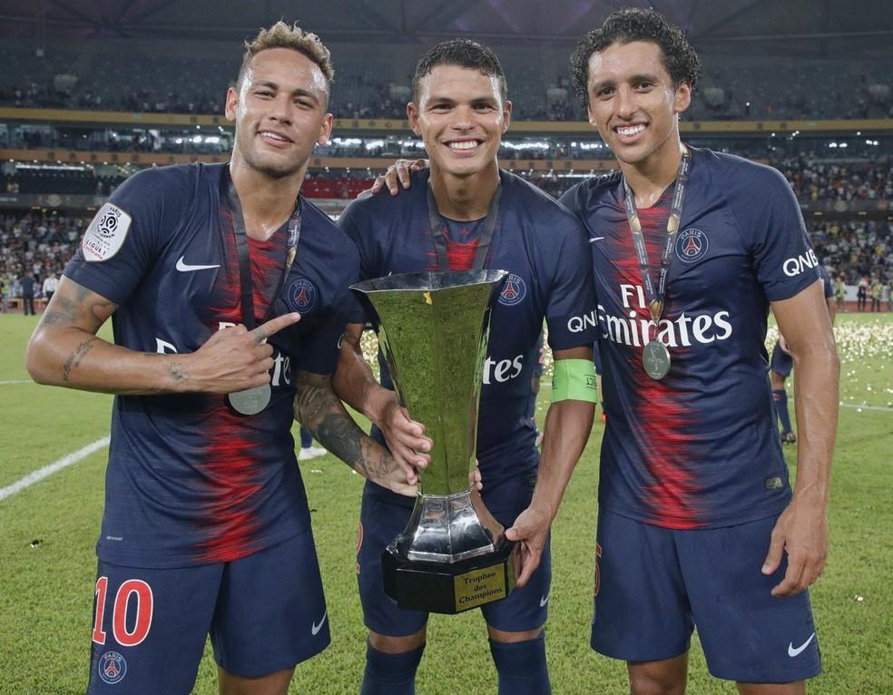 Neymar, Thiago Silva e Marquinhos campeões com o PSG — Foto: Reprodução / Twitter