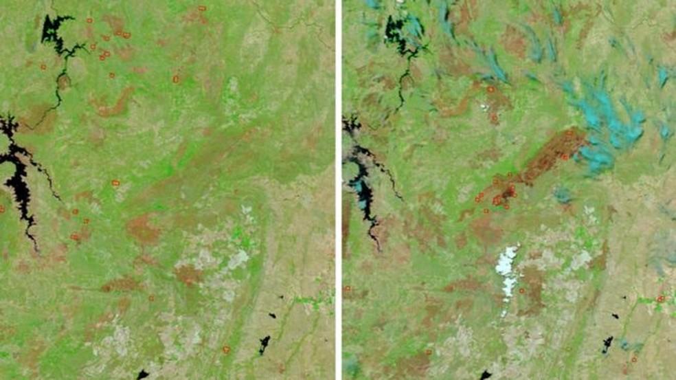 Imagens captadas por satélite da Nasa mostram o antes e o depois dos incêndios na Chapada (Foto: Nasa)