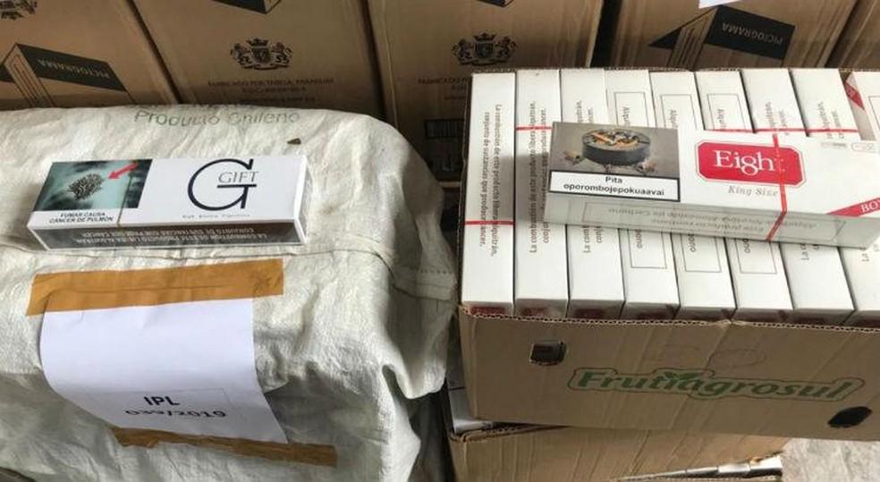 Cigarros apreendidos em Canhotinho — Foto: Polícia Federal/Divulgação