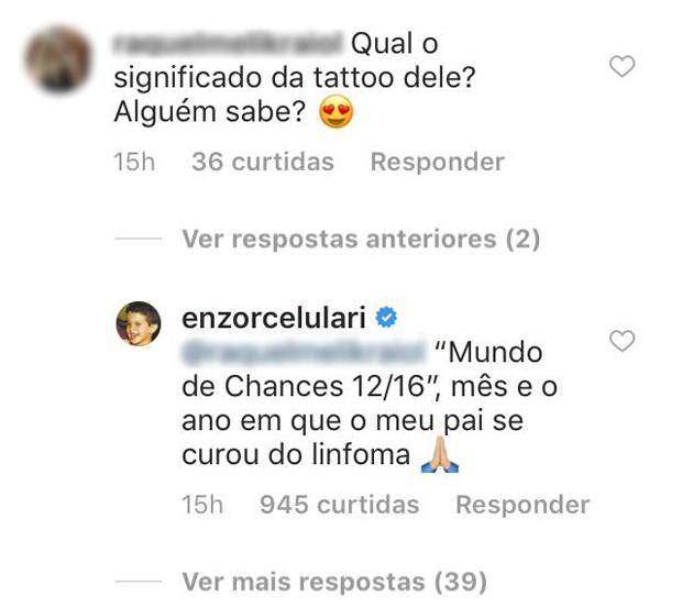 Comentário de Enzo Celulari sobre tatuagem (Foto: Reprodução/Instagram)