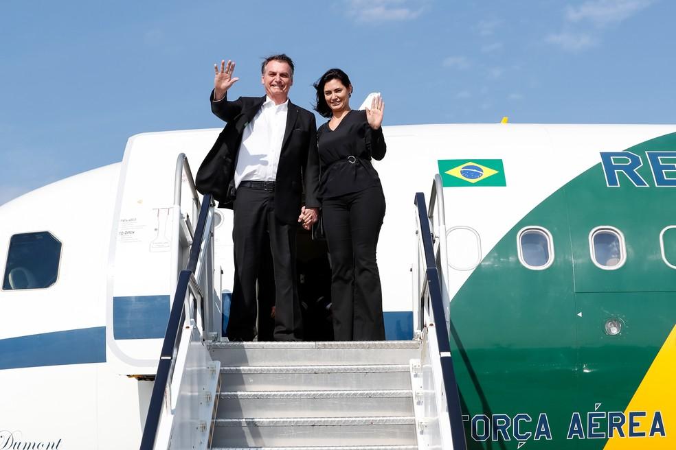 O presidente Jair Bolsonaro e a primeira-dama Michelle desembarcam em Nova York — Foto: Palácio do Planalto