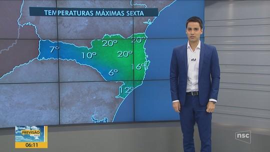 SC registra mínima abaixo de 10°C; sexta-feira tem previsão de chuva e indicativo de neve