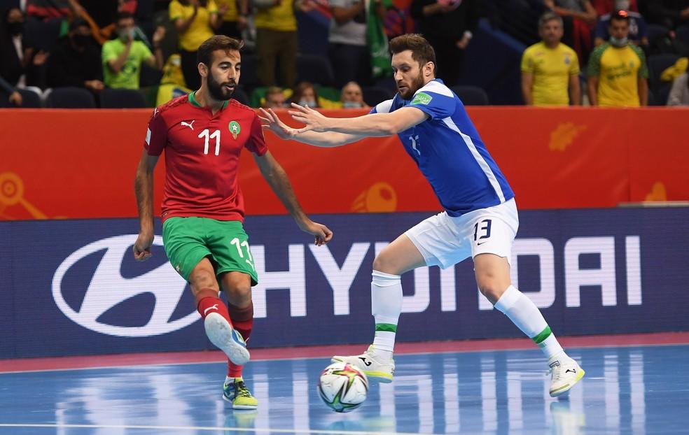 Gadeia na marcação do marroquino Bakkali — Foto: Alex Caparros/FIFA