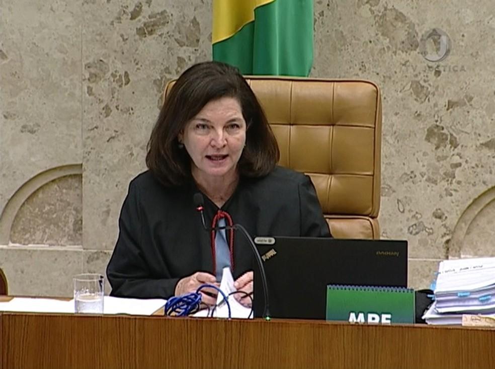 A procuradora-geral da República, Raquel Dodge, durante sessão do Supremo Tribunal Federal na semana passada. (Foto: Reprodução/TV Justiça)