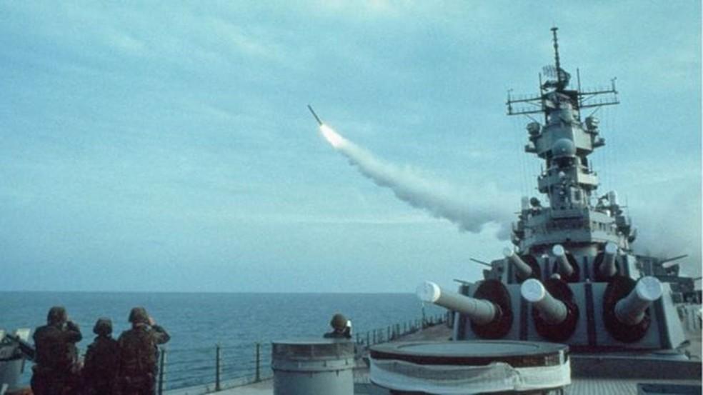 Os EUA usaram os Tomahawks pela primeira vez durante a operação Tormenta do Deserto, em 1991 (Foto: Getty Images via BBC)