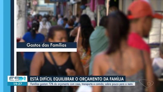 Famílias do ES gastam 72% do orçamento doméstico com casa, comida e transporte
