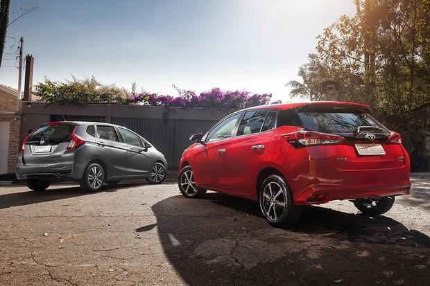 Honda Fit EXL x Toyota Yaris XLS (Foto: Leo Sposito/Autoesporte)