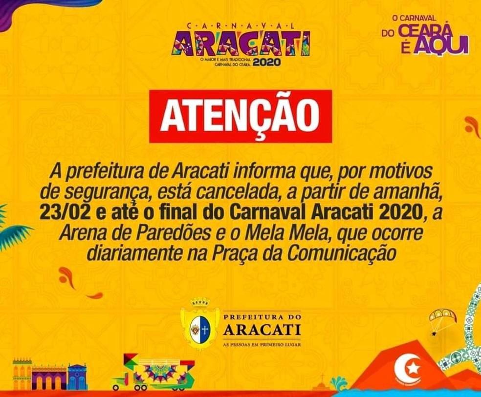 Prefeitura de Aracati cancela dois eventos do carnaval após homicídio no Centro de Aracati. — Foto: Divulgação