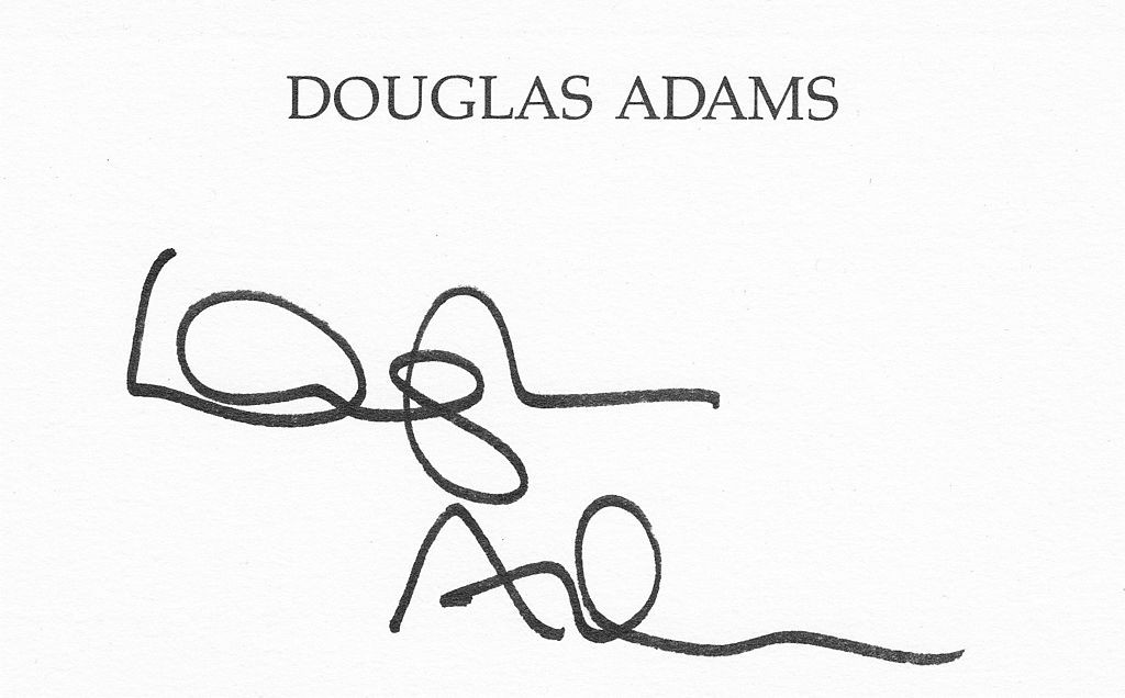 Autógrafo de Douglas Adams (Foto: Benutzer:Smalltown Boy, via Wikimedia Commons)