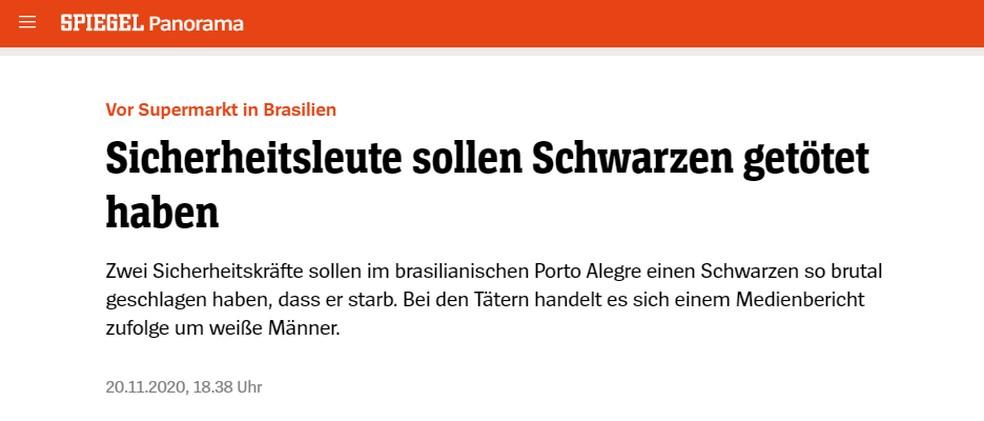 'Seguranças são acusados de matar homem negro', diz título de reportagem do site da revista 'Der Spiegel' — Foto: 'Der Spiegel'/Reprodução