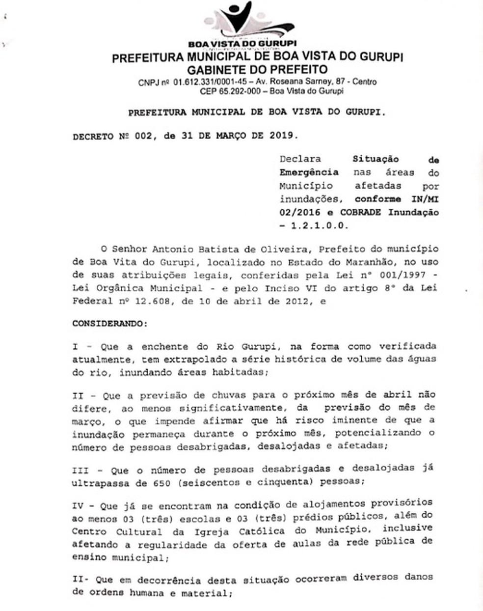 Município de Boa Vista do Gurupi decretou situação de emergência após fortes chuvas — Foto: Divulgação/Prefeitura de Boa Vista do Gurupi