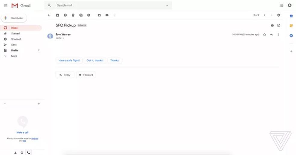 Gmail terá respostas prontas para quem não quer perder tempo (Foto: Reprodução/The Verge)