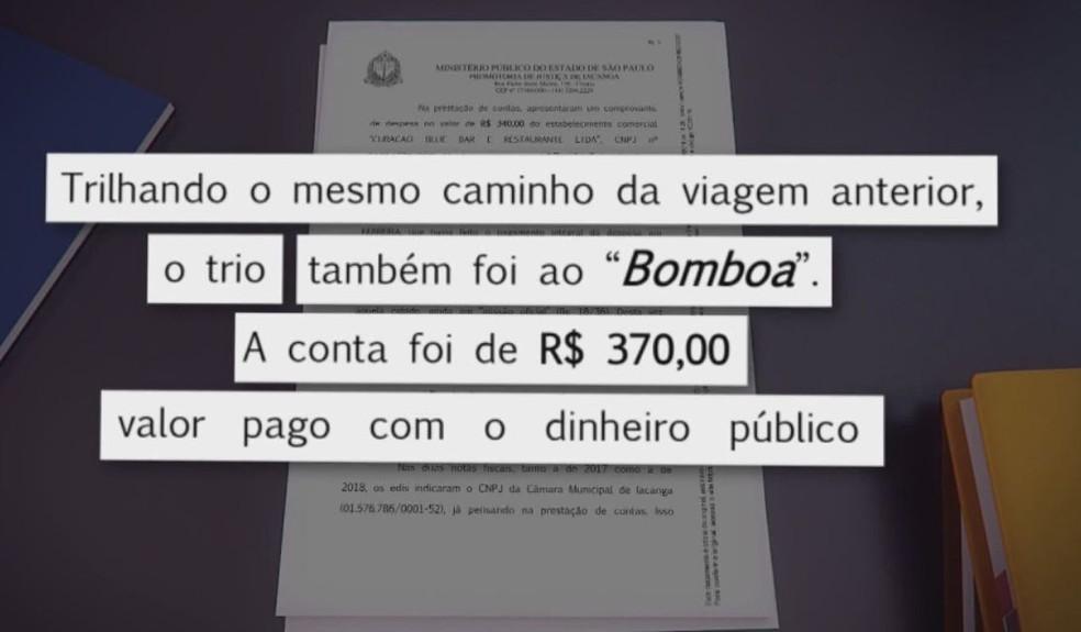 Na segunda nota, os vereadores de Iacanga apresentaram nota de R$ 370, que foi incluída no portal da transparência  — Foto: TV TEM / Reprodução