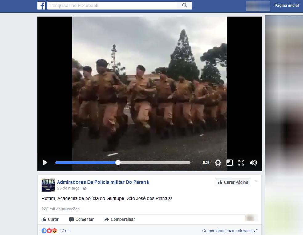 'Arranca a pele e esmaga os seus ossos', cantam policiais do Paraná em vídeo viral (Foto: Reprodução/Facebook)