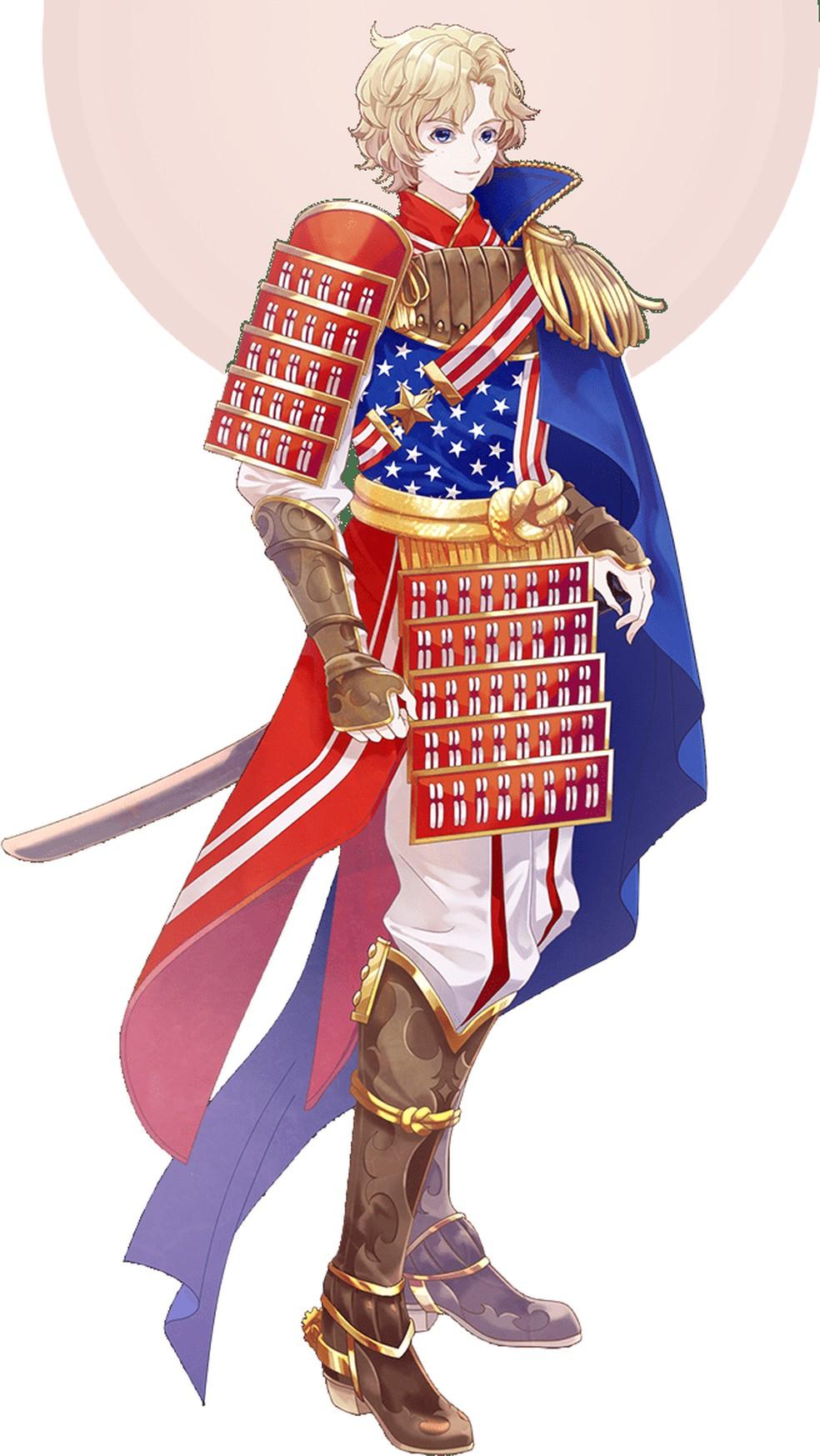 Justin, samurai dos Estados Unidos — Foto: Divulgação/World Flags