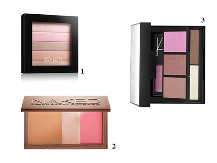 1. Highlighting Palette - Rose Glow, Revlon, R$ 76,90; 2. Naked Flushed, Urban Decay, R$176; 3. NARSissist Palette, NARS, R$299