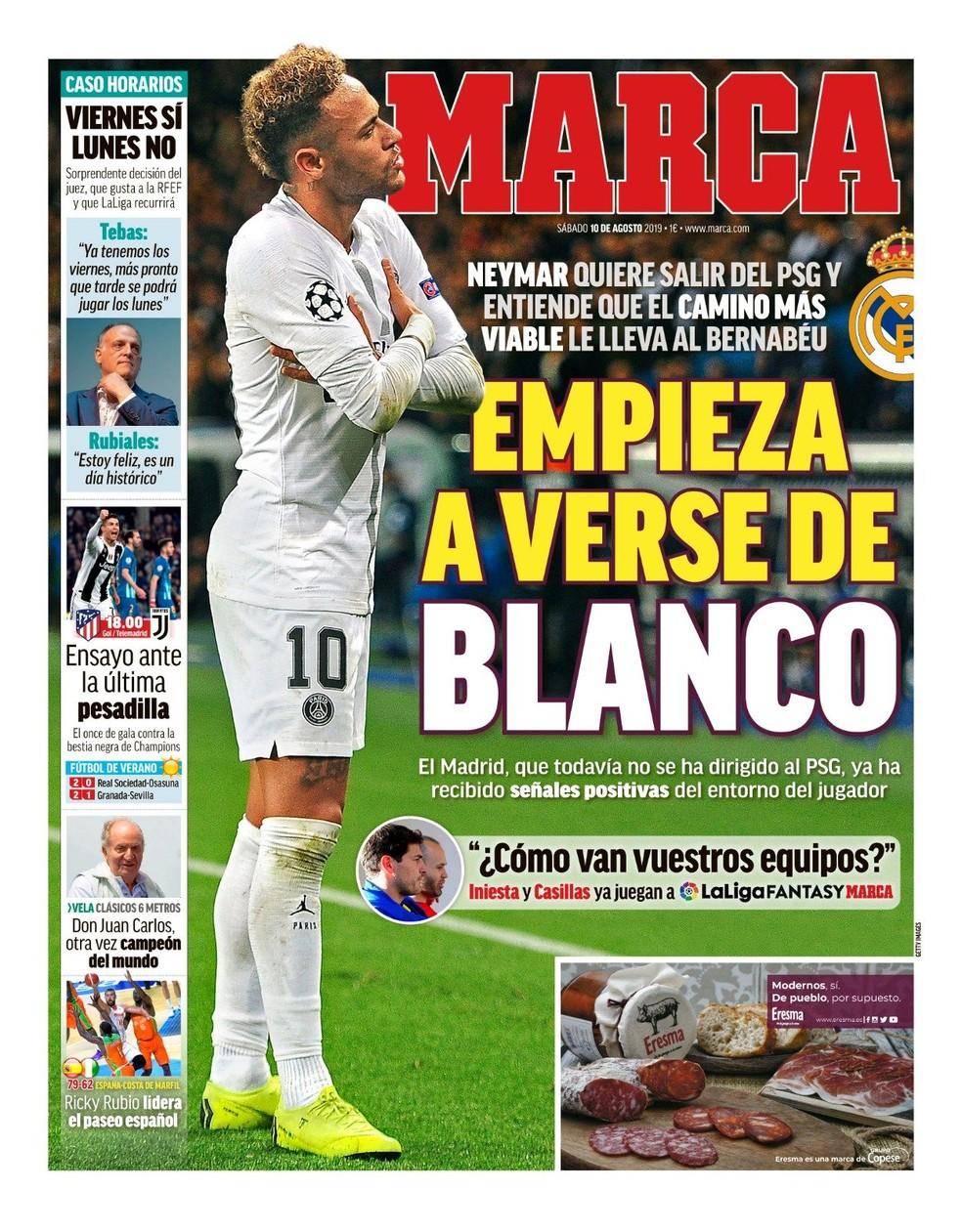 """Neymar """"começa a se ver de branco"""", diz o """"Marca"""" — Foto: Reprodução/Marca"""