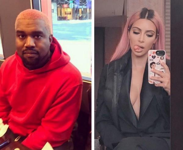 Kanye West e Kim Kardashian com seus cabelos pintados de rosa (Foto: Instagram)