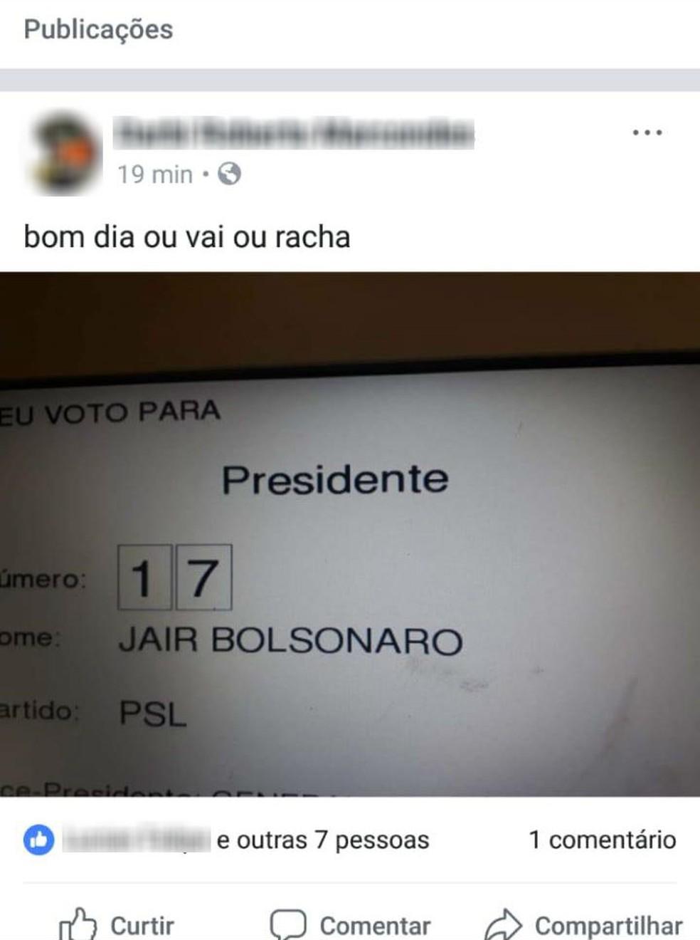 Eleitor do Paraná é preso depois de postar no Facebook foto do voto na urna  — Foto: Reprodução/Facebook