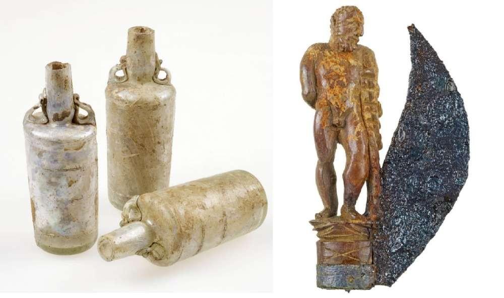 Frascos de perfume e uma faca adornada (Foto: Divulgação/LVR-LandesMuseum Bonn)