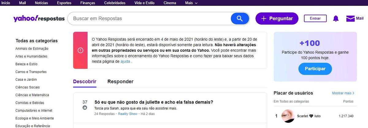 Yahoo Respostas será desativado em maio de 2021