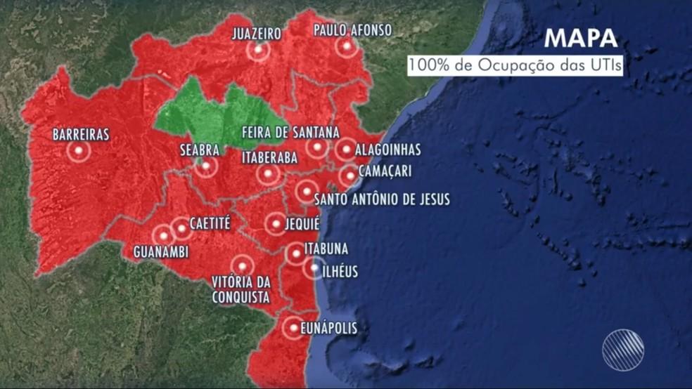 Hospitais de 16 cidades baianas estão com 100% de ocupação de leitos de UTI para Covid-19 — Foto: Reprodução / TV Bahia