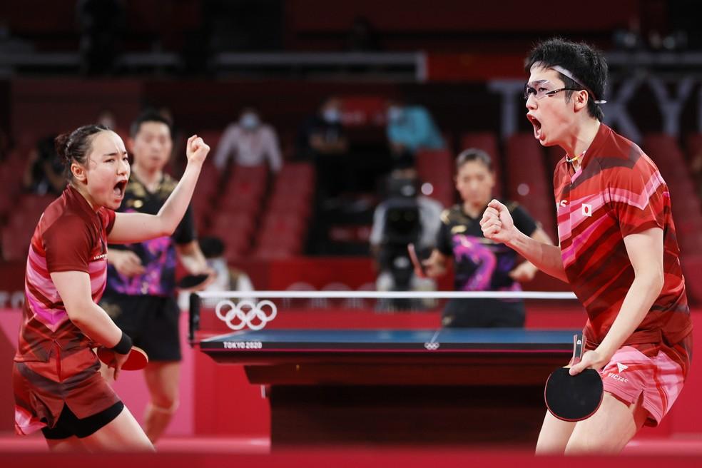 Jun Mizutani venceu as duplas mistas pelo Japão  — Foto: Getty Images