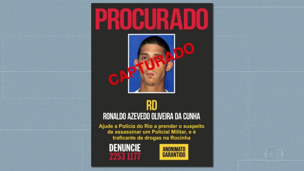 RD, acusado de matar um policial militar na Rocinha em 2012, foi preso na ação das forças de segurança (Foto: Reprodução/ TV Globo)