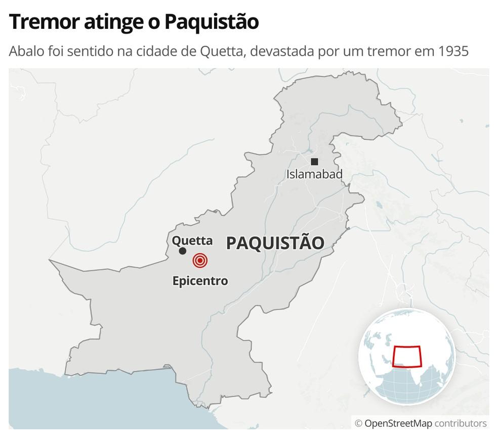 Terremotos atingem o Paquistão — Foto: g1 Mundo