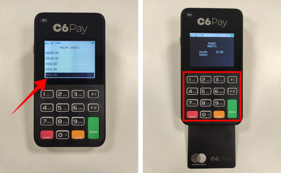 Após escolher um valor, insira o cartão e digite a senha — Foto: Divulgação/C6 Bank