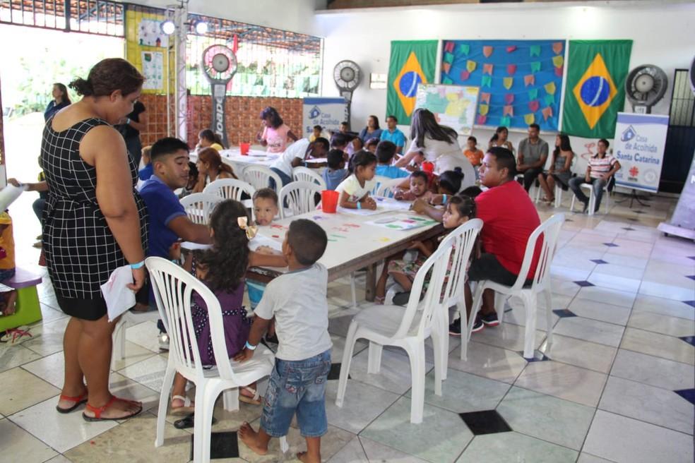 Abrigo de venezuelanos localizado na Zona Sul de Manaus (Foto: Iranilson Valente/Rede Amazônica )