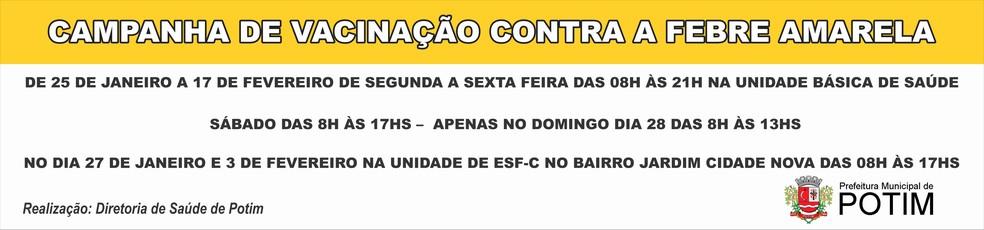 Aviso sobre campanha de vacinação em Potim (Foto: Divulgação/PMP)