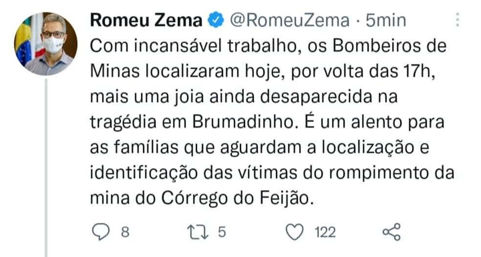 Romeu Zema comenta o encontro de mais um corpo de vítima da tragédia em Brumadinho. — Foto: Redes sociais