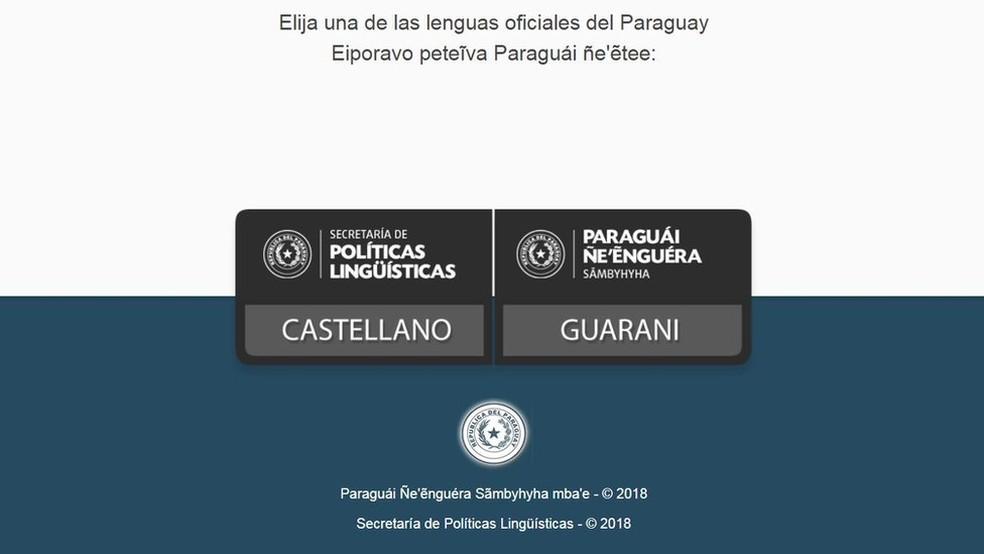 Em sites do governo paraguaio, é possível escolher ver a página em espanhol ou em guarani — Foto: Reprodução