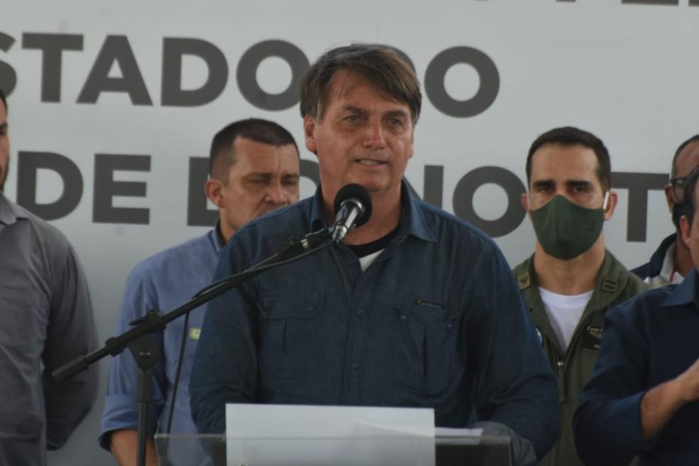 Presidente Jair Bolsonaro cumpre agenda em Ipanguaçu (RN) — Foto: Adriano Abreu/Tribuna do Norte