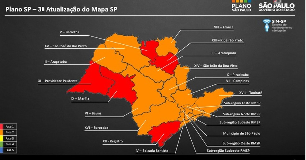 Região de Marília terá que recuar para fase vermelha na flexibilização da quarentena  — Foto: Governo do estado de SP/ Divulgação