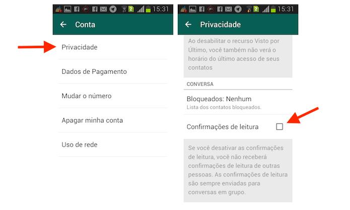 Desativando a confirmação de leitura do WhatsApp para Android (Foto: Reprodução/Marvin Costa)