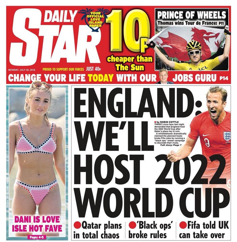 """Capa do """"Daily Star"""" diz que a Inglaterra vai sediar a Copa de 2022 (Foto: Divulgação)"""