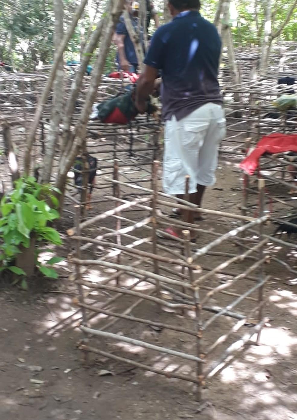 """Polícia captura 10 pessoas e apreende 33 galos em local usado para """"rinha de galos"""" em Varjota, no Ceará. — Foto: Reprodução"""