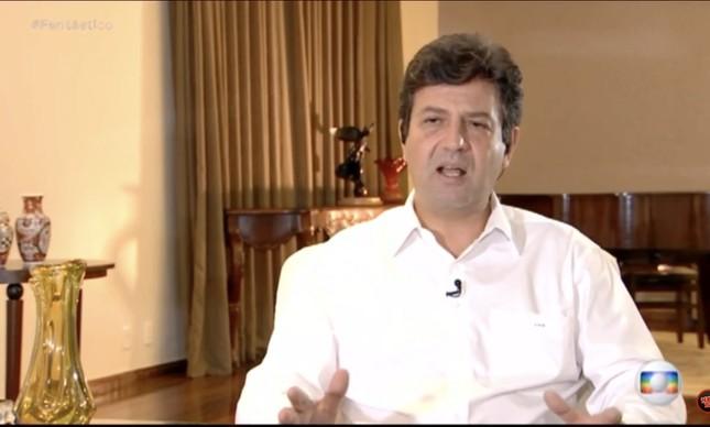 O ministro Luiz Henrique Mandetta em entrevista ao Fantástico