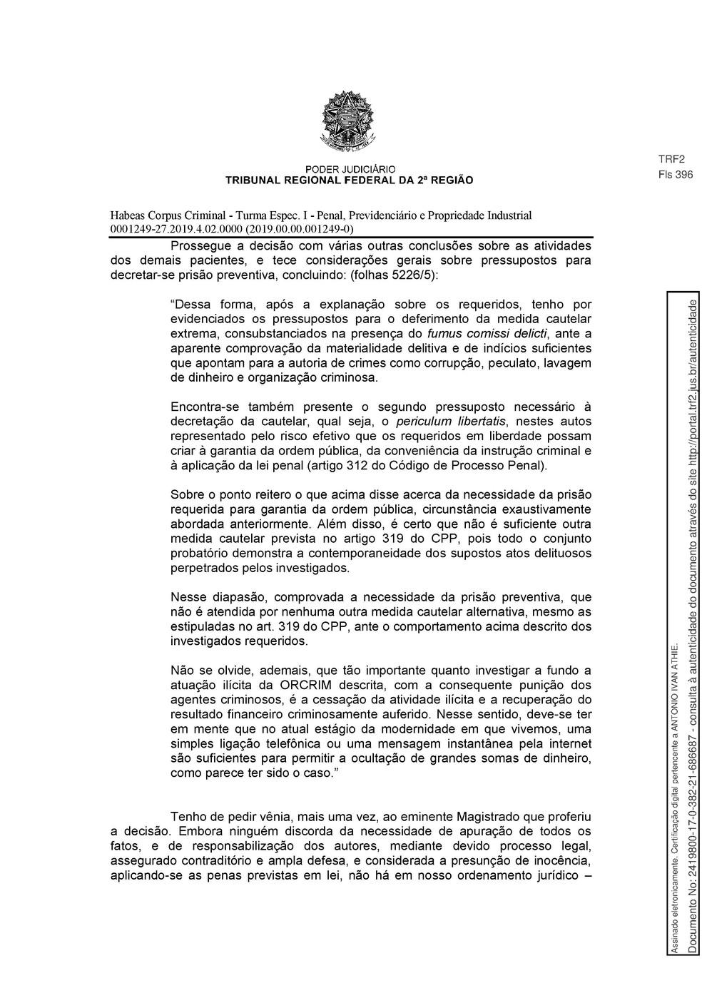 Decisão TRF-2 pg. 15 — Foto: Reprodução