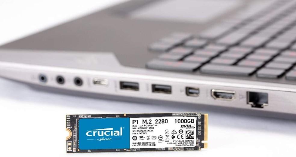 SSD Crucial é outra alternativa com até 2 TB de capacidade — Foto: Divulgação/Crucial