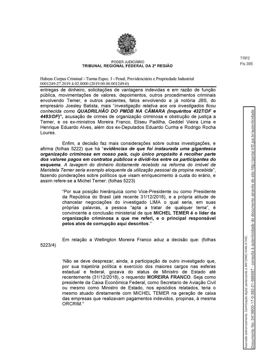 Decisão TRF-2 pg. 14 — Foto: Reprodução