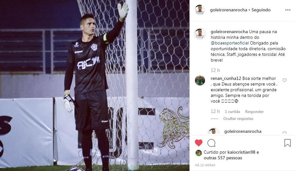 """Renan Rocha posta """"despedida"""" do Boa Esporte — Foto: Reprodução Instagram"""
