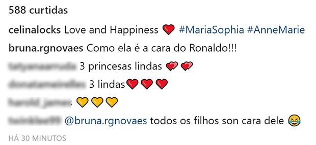 Comentários da foto de Celina Locks (Foto: Reprodução/Instagram)